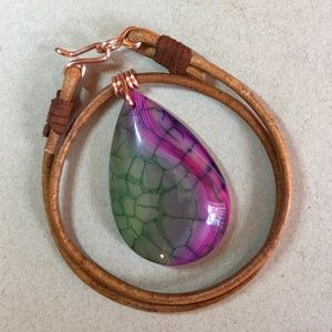 """❤️Green Purple 16"""" Agate Leather Choker Necklace"""